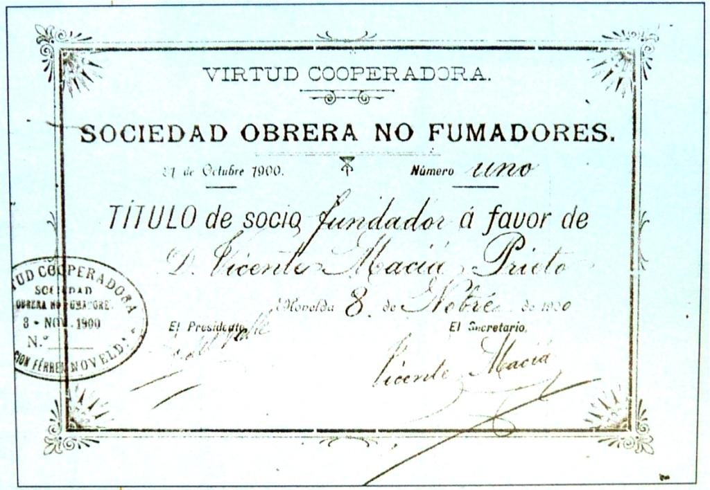 00_TituloSocioFundadorSONoFumadores_LaVirtudCooperadora [BarrioEstación,Novelda 1900] ArchivoParticularEdisónMaciá