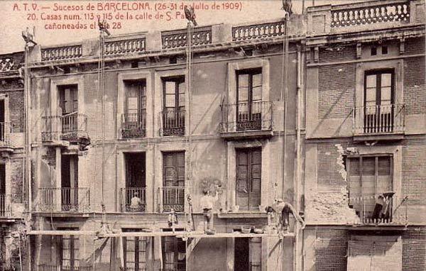 00_vista-sucesos Julio 1909_Calle San Pau-casas cañoneadas