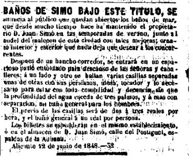 Balneario de Juan Simó_La España 16-08-1848