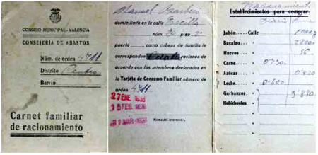 Carnet familiar de racionament_Conselleria d'Abastiments_Col·lecció Esteban Monreal Moreno