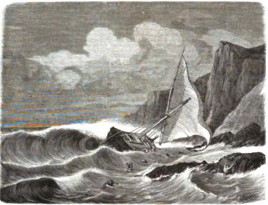 Grabado del Hundimiento Falucho Cabo de las Huertas_lA iLUSTRACION DE MADRID_12-02-1870