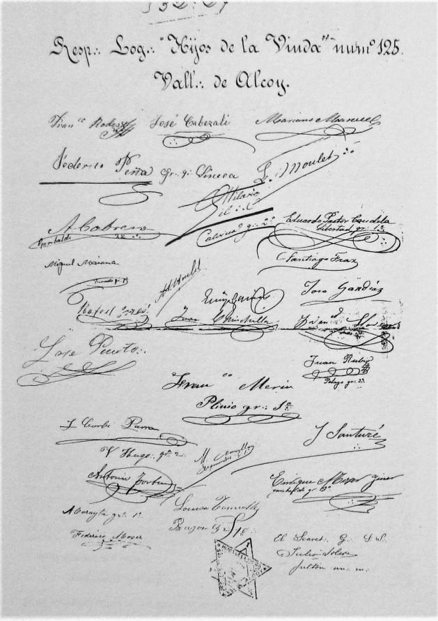 Hoja firmas miembros logia Hijos de la Viuda_Alcoy_1891 (3)