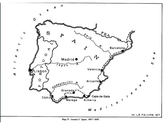 itinerario viaje W. Maclure a España_1808