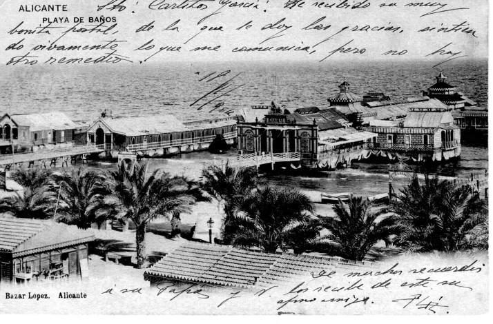 Playa de baños Alicante_Postal 1905_Bazar López Alicante