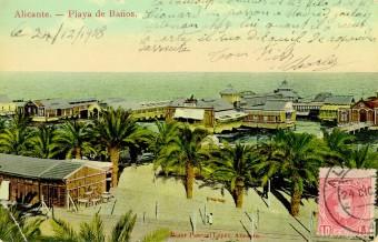Playa de baños Alicante_Postal 1908_Bazar López Alicante