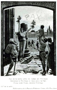 Postal_Fermín Sagrista_La Paz triunfará sobre las ruinas del privilegio_Casa editorial Escuela Moderna_1912