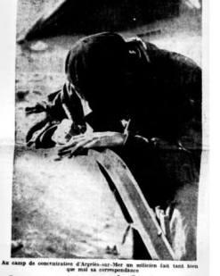 CAMP DE CONCENTRATION D ARGELES LE 7-3-1939
