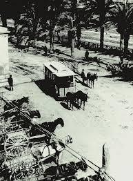 Tranvía de mulas. Fotografía del Archivo Municipal de Alicante