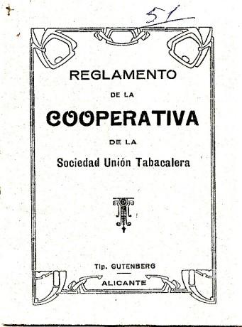 Reglamento de la cooperativa de la Sociedad Union Tabacalera 1920