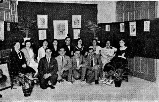 Miembros comite JS Baracaldo y grupo compañeras_exposiciónn casa del pueblo_Renovación 20-10-1931