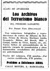 Pere Foix_Archivos del Terror Blanco_Fichero Lasarte_nov 1931