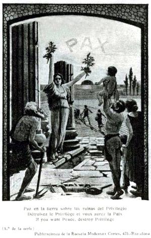 Postal Publicaciones de la Escuela Moderna antes 1909