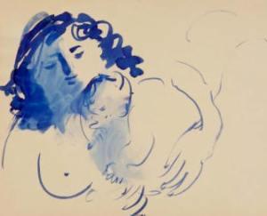 Dibujo de la maternidad de Baltasar Lobo