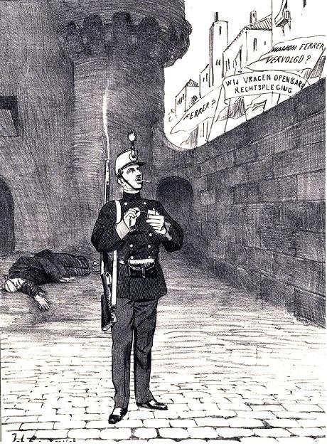 Caricatura_Territorio de Lerdos_ El responsable del Fusilamiento de Ferrer Guardia_Alfonso XIII_IISH_01