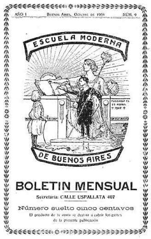 Portada Boletin Escuela Moderna_Argentina 1909