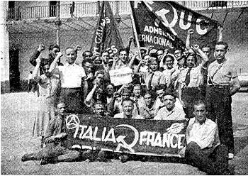 antifascitas italianos y franceses centuria Carlos Marx_junto redactores MIliciano Rojo