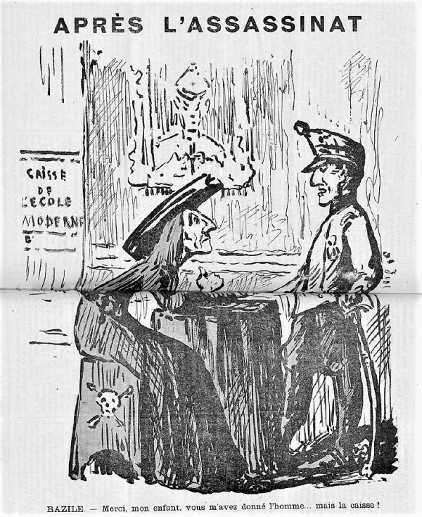 caricatura asesinos de Ferrer Guardia_Les Temps Nouveaux 30-10-1909