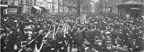 Manifestacion Pro Ferrer_París 13-10-1909_Batignoles Boulevard