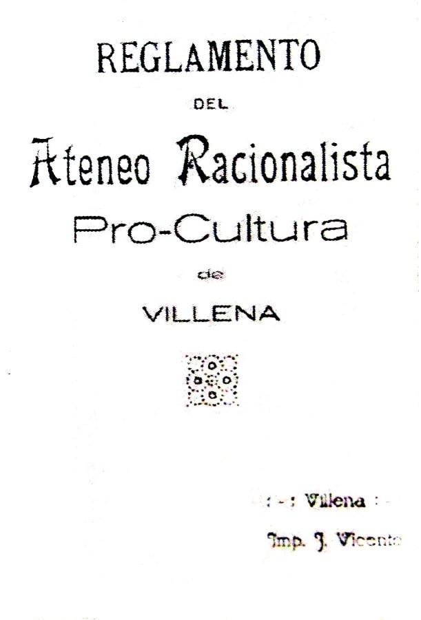 Portada Reglamento Ateneo Racionalista_Villena 1932