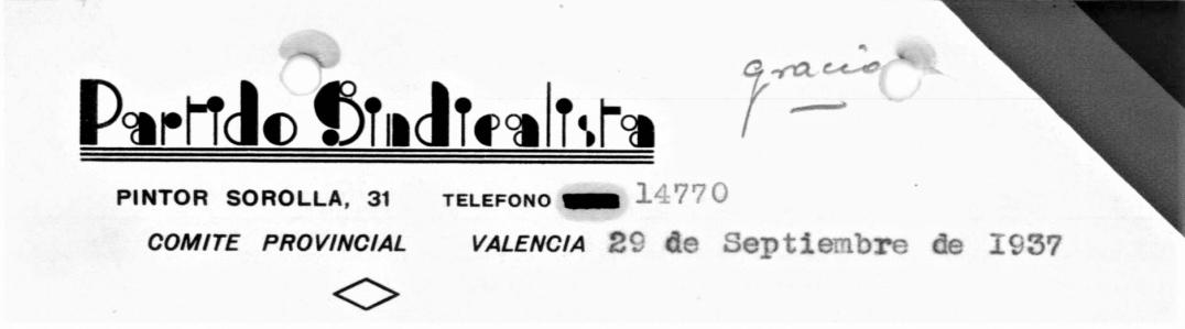 membrete Partido Sindicalista Valencia