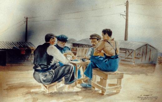 cuadro exiliados campo concentracion