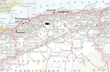 Mapa de situación del campo Morand en Boghari- Sur de Argel