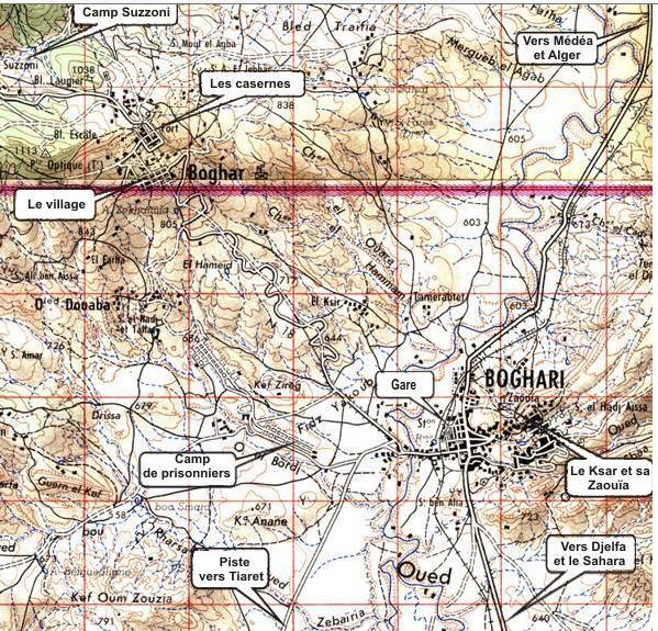 Mapa del pueblo de Boghari – situación del camp