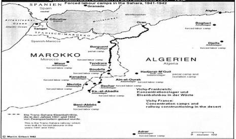 Mapa del sur de la región de Oran- situación de Hadjerat M´Guil