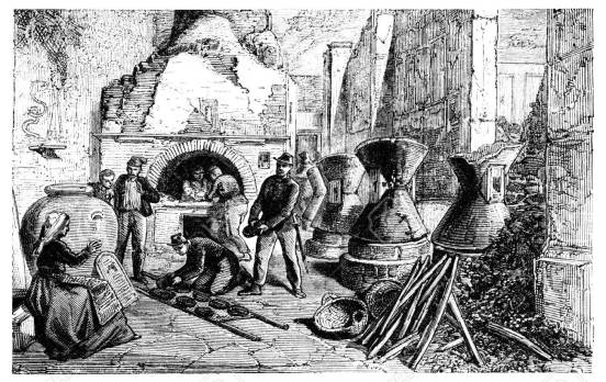 19th century engraving of a bakery