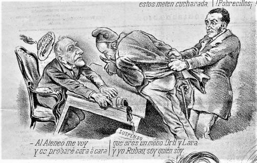 2_José Rubau_10-1894_El cojo Rubau -sujetado x ¿Marsal?- protesta al rector Univ Central Madrid x suspenderle en Metafísica