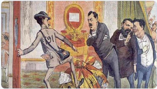 Caricatura de Amadeo de Saboya, «¡Ahí queda eso!», La Carcajada 18-x-1872