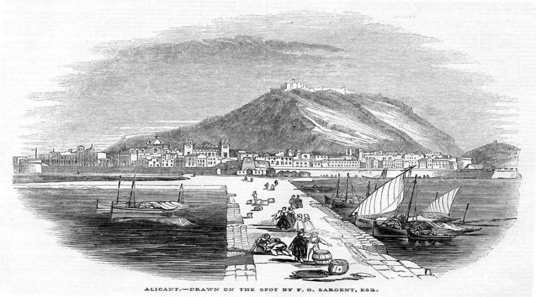 Puerto de Alicante_dibujo de mediados del sXIX