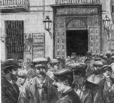 grabado_manifestacion Madrid_Liceo_Rius_por_Comba__La Ilustracx Española y Americana 08-05-1890