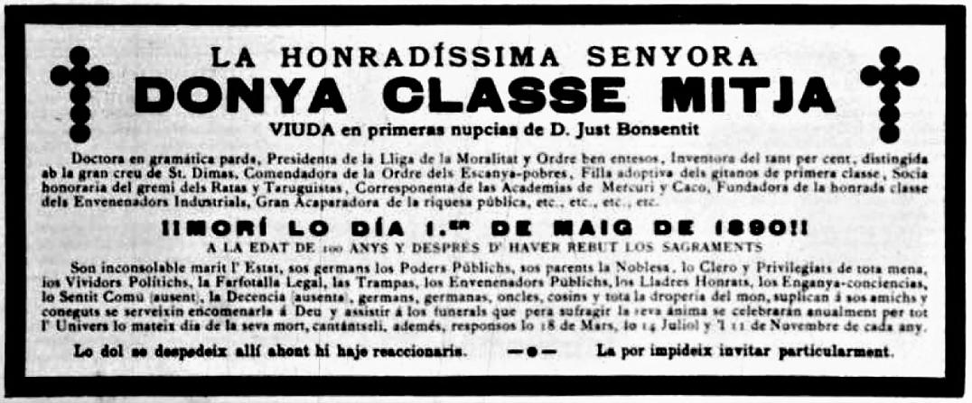Hoja satírica_Esquela Dña Clase Media_La Tramontana 27-06-1890