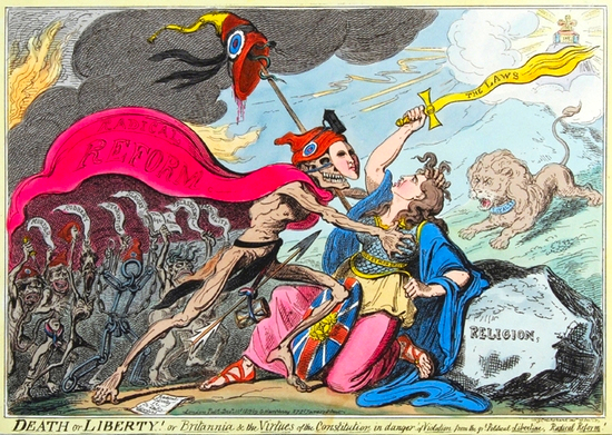 Death or Liberty! or Britannia & the Virtues of the Constitution in danger of Violation from the great Political Libertine_Radical Reformer_1819
