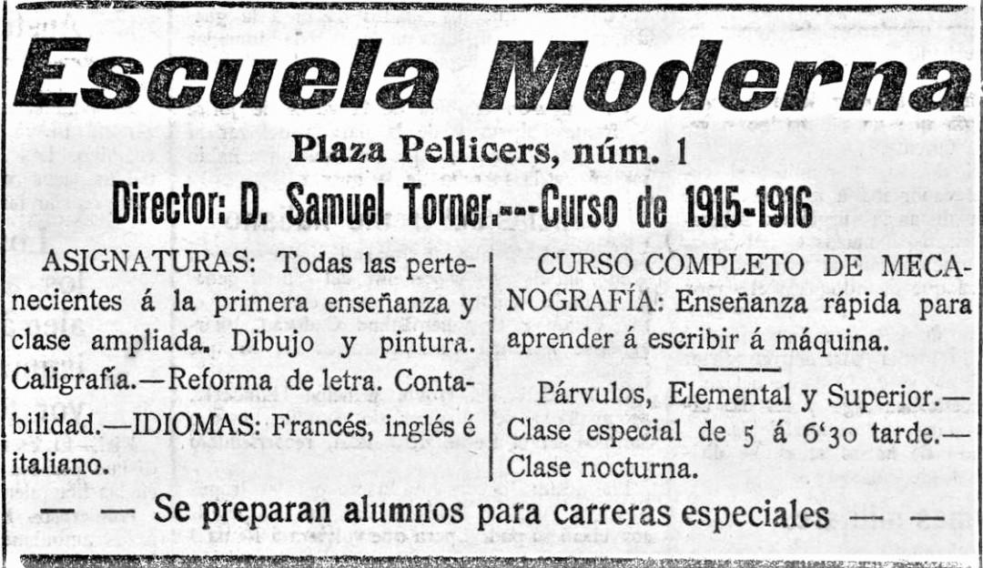 Anuncio Escuela Moderna_Valencia curso 1914-15