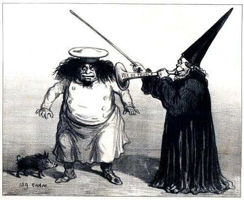 caricatura Proudhon_L'enchanteur Ratho-mago Proudhon_ A ça voix, ses ennemies sont instantaneament transformés en pastissiers_Cham_Bib Bordeaux