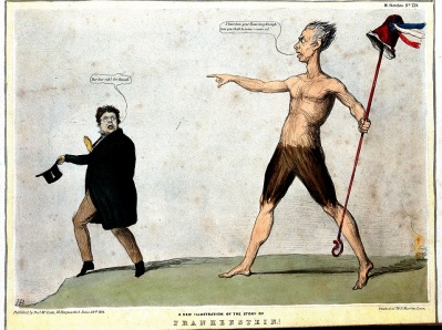 Frankenstein monstruo politico_caricatura_A giant holding a crozier with a cap of liberty points_01