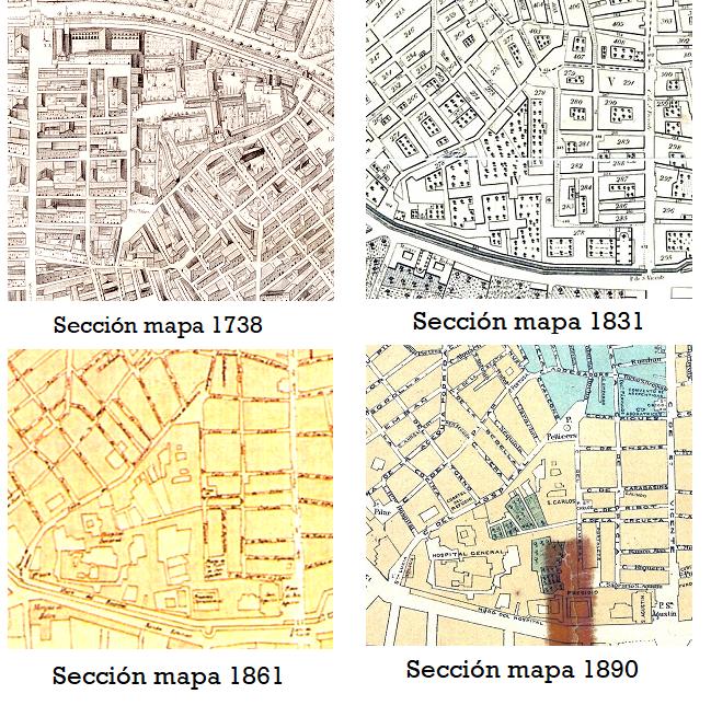 Sección Plano Area Plaseta Pellicers_evolución urbana 1738-1890
