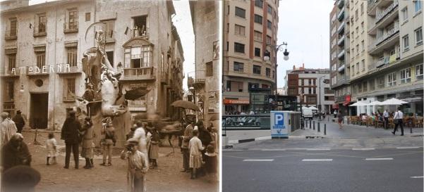 Vista de la plaza-de-pellicers_fachada-de-la-escuela-moderna_1915_Vista Actual