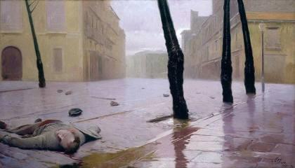 cuadro Antonio Fillol Granell_ La semilla-Después de la refriega_1904_Óleo sobre lienzo_Museo de Bellas Artes de San Pio V_Valencia