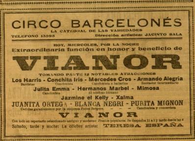 Mimosa en Circo Barcelones_Beneficio pro-Vianor_El Diluvio 1 mayo 1929
