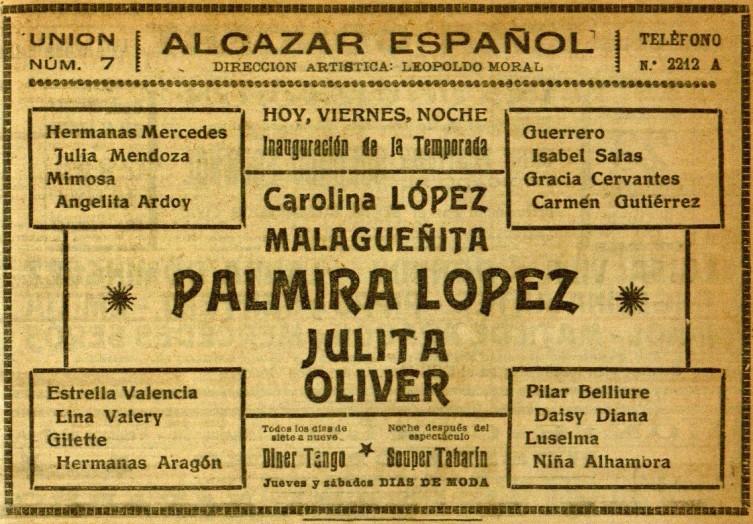 Mimosa en El Alcazar_El Diluvio 23 sept. 1921