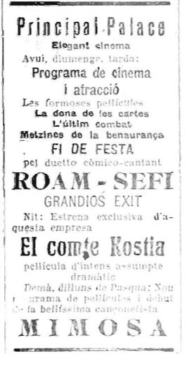 Mimosa en Principal Palace_La Publicitat 17-04-1927
