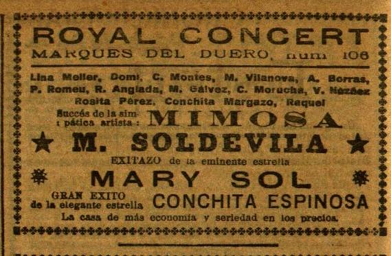 Mimosa en Royal Concert_El Diluvio 29 oct. 1927