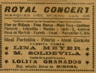 Mimosa en Royal Concert_octubre de 1928