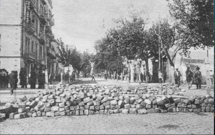 Barricada carrer Hospitalet_década 1930