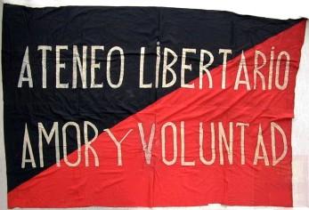 bandera Ateneo Libertario Amor y Voluntad_Barcelona_década 1930